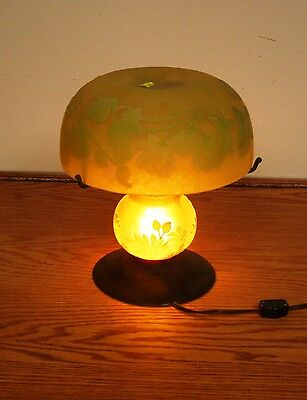 """Rench Reproduction Acid Etched Cameo Glass """"galle"""" Table Lamp"""