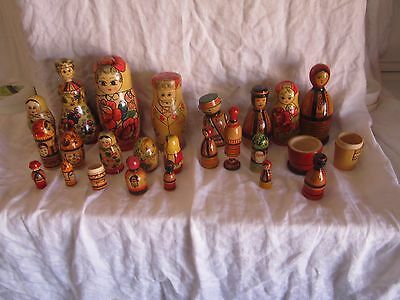 Lot Of Vintage Russian  Nesting Dolls  And Parts From U.s.s.r.  (Vd)
