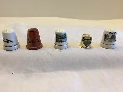 Lot of 5 Colorado Thimbles Wooden Estes Park Denver Ceramic Rocky Mount Ntl Pk