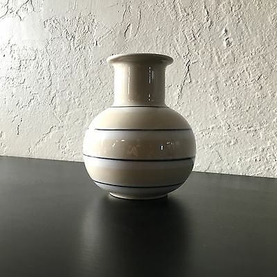 Hoganas Keramik Stoneware Rare Striped Vase Made in Sweden