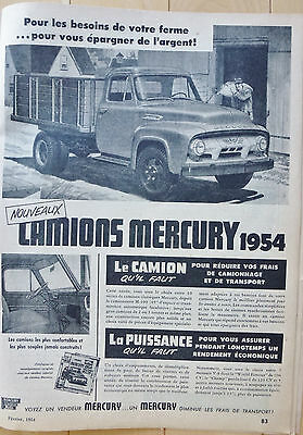 Mercury Truck 1954 Ad Publicity in French Canada Quebec