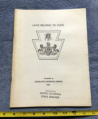 Pennsylvania Laws Relating to Guns 1975 Vintage Government Document NRA Firearms