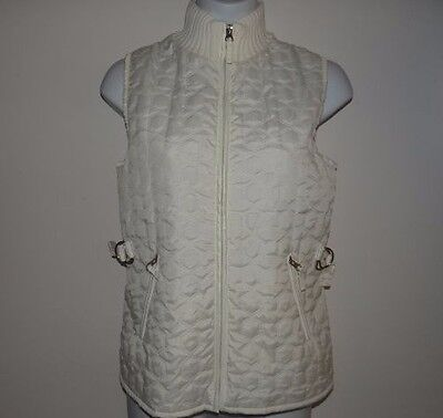 For Cynthia Women's Ivory Front Quilted Sleeveless Vest Size S