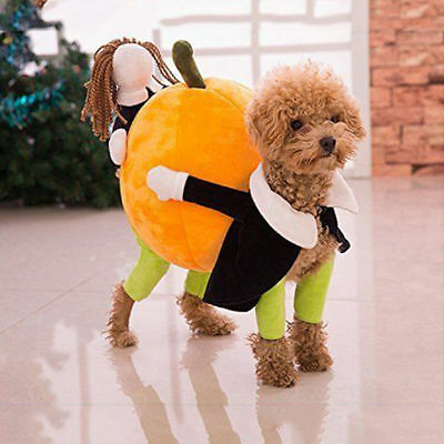 Halloween Costume Xmas Pet Puppy Dog Pumpkin Cosplay Apparel Coat Clothes Outfit