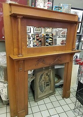 Oak Fire place mantle columns beveled mirror Columbus Ohio