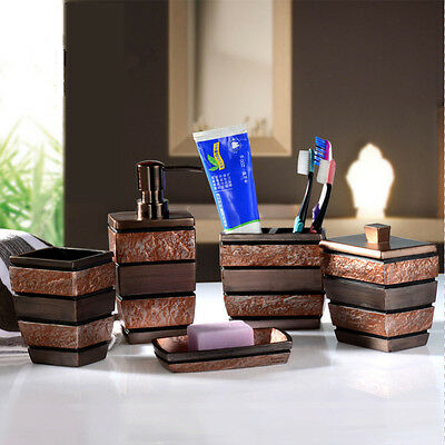5Pcs Resin Bathroom Accessories Set Rome Aristocracy Toothbrush Cup Soap Dish