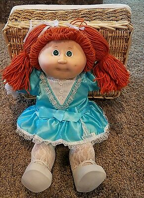 1985 Cabbage Patch Kid Doll Orange Hair Dimples Green Eyes Blue Gingham Dress