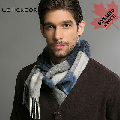 (Shipping Cost Rebated) Men's Stripe Wool Scarf Made with Australian Wool