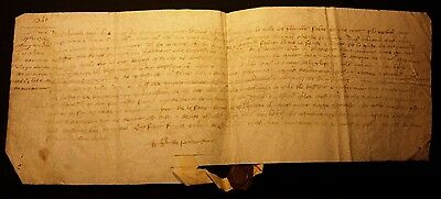1341 - ABSTRACT of 1288 CHARTER - RARE MEDIEVAL VELLUM with WAX SEAL in PICARD