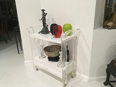 Hollywood Glam. Vintage Mid Century Modern, Clear Lucite Bar, Tea Cart, TV Stand