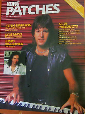 KEITH EMERSON Cover KORG PATCHES 1987 magazine +KEYBOARD SYNTHesizer AD elp