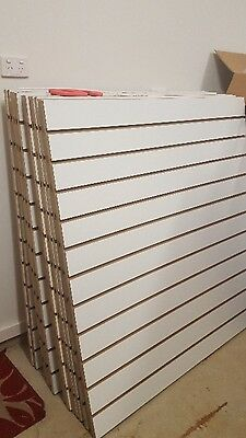 Brand New Slat wall panels 120 cm X 120 cm complete with shelves and brackets