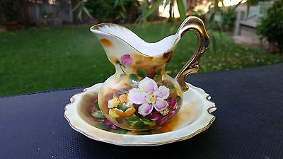 Lefton China 2 Piece Set, Pitcher, Bowl, Hand Painted With  Pansies