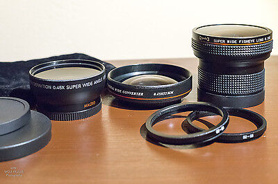 Thee Super-Wide Angle Filter Lenses + bonus size adapters (52/55/58mm)