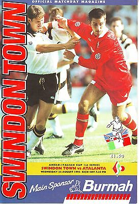 Swindon Town V Atalanta Anglo Italian Cup 24 August 1994 Vgc