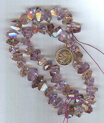 "Highly Faceted Ametrine Nugget Beads 8"" Strand 12x8mm"
