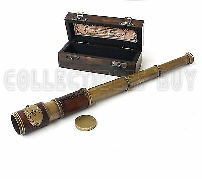 Brass Leather Sailor Look Antique Sea Marine Telescope Trekking Collectable