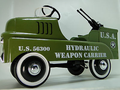 A Pedal Car Army Truck WW2 Jeep 1940s Military Vintage Anti Plane Midget Model