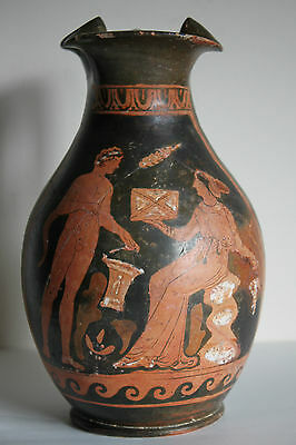 ANCIENT GREEK POTTERY RED FIGURE ONIOCHOE 4th CENT BC WINE JUG