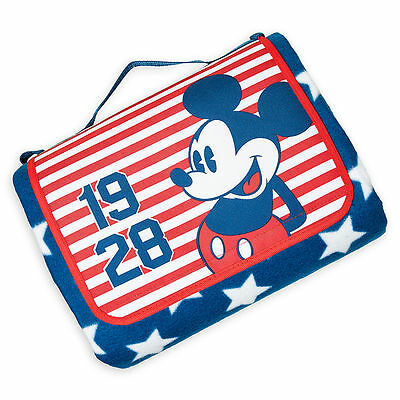 "DISNEY STORE Blanket MICKEY MOUSE AMERICANA (70"" x 80"") NWT"