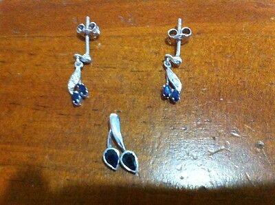 Genuine Sterling Silver 925 Sapphire Leaf Earrings And Pendant Set