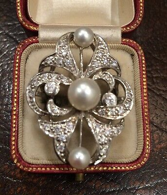 Victorian Edwardian American 34 Old Cut Diamond Pearl Antique Ring Art Deco Aga