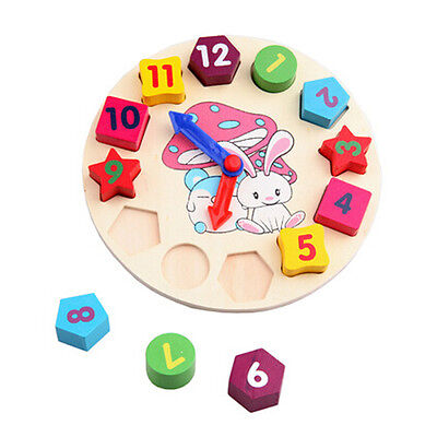 Wooden Puzzle Clock Childrens Kids Clock Educational Toy Learn The Time jigsaw