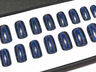 Blue Holographic Short Hand Painted Press On Faux False Acrylic Glue On Nail Set