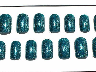 Metallic Green Short Hand Painted Press On Faux False Artificial Glue On Nails