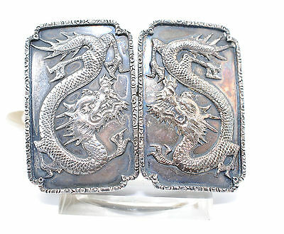Antike Silber Gürtelschnalle China Shanghai Silver Belt Buckle Drachen Dragon