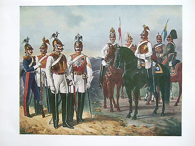 Vintage Military Print- Division Of Cuirassiers Of The Guard - Russia C 1850