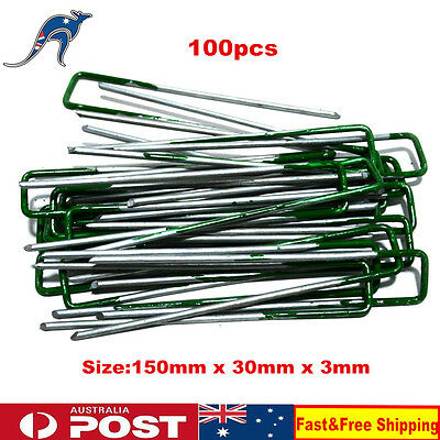 100 x U Shape Green Tip Artificial Synthetic Fake Grass Turf Lawn Pins Pegs
