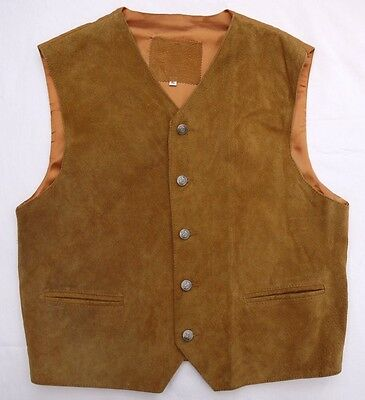 QUALITY 90's VINTAGE SOFT TAN SPILT SUEDE LEATHER WESTERN STYLE WAISTCOAT XL