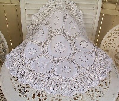 Shabby Vintage White Crochet Table Supper Cloth Inserts
