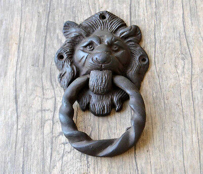 VINTAGE Victorian LION Head Cast Iron Chest Door KNOCKER Ring Pull drop handle