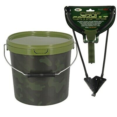 NGT Carp Fishing Catapult With 5l Camo Round Bait Bucket For Boilies