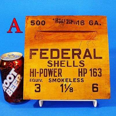 FEDERAL HI POWER SHOTGUN SHELL Wooden 16Ga Shipping Crate END ONLY wood box