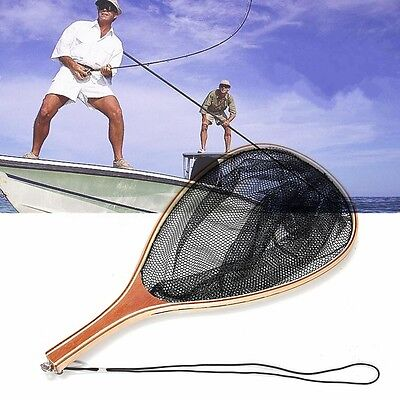 Wooden Handle Fly Fish Fishing Landing Trout Black Nylon Net Mesh Catch Tackle