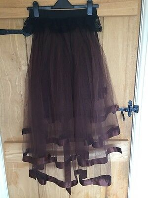 Brown Net And Ribbon Bustle Skirt With Black And Lace Elastic Waist 8-10