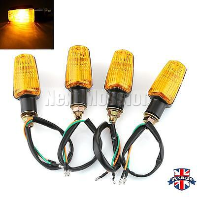 4X Motorcycle Motorbike Indicators Turn Signals Turning Light Amber Universal