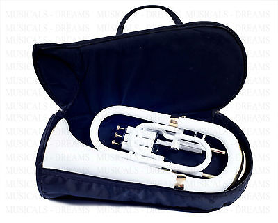 Euphonium 4 Valves White Colored With Black & Brass Finish Bb/f Flat Tuba Horn