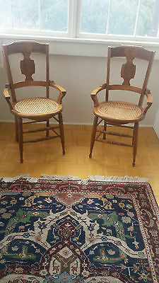 Pair of Antique American Eastlake Side Chairs - Cane Seats & Inlay
