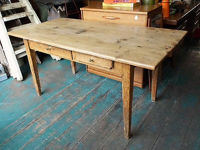Victorian Scrub Top 3 Plank Kitchen Table Vintage Rustic Farmhouse Stripped Pine