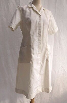 80's VINTAGE ALEXANDRA WORKWEAR NURSES WHITE FITTED OVERALL HOSPITAL LABCOAT 14