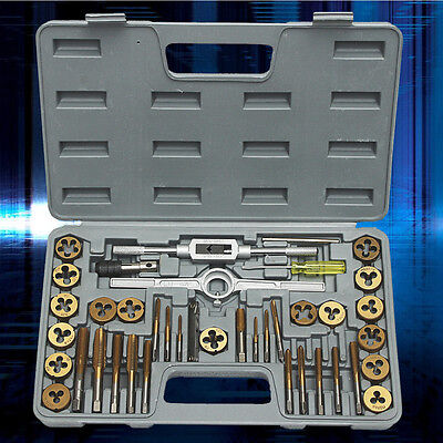 40PCS Titanium PRO TAP AND DIE SET METRIC WRENCH M3-M12 ENGINEERS KIT HARD CASE