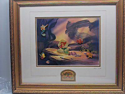 Disney Gallery Little Mermaid Ariel 10th Anniversary Framed Set LE #94/1989 c