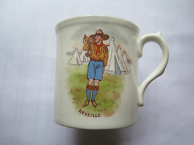 BOY SCOUT CHINA MUG SCOUT BLOWING REVEILLE on the BUGLE SCOUTING INTEREST