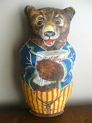 1926 Advertising Kellogg's Cereal Stuffed Printed Cloth Doll DADDY BEAR w tag