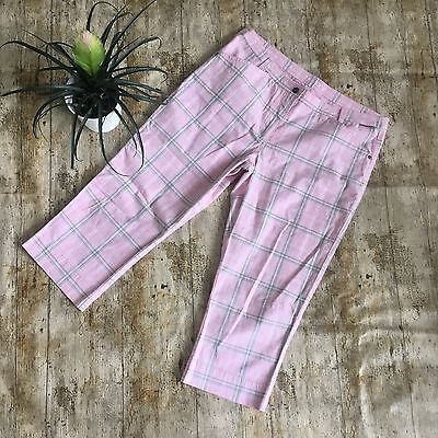 Catmandoo Ladies Capri Trousers Size 12 (40). Pink White/grey Check Golf
