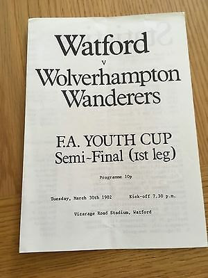 Watford Youths v Wolverhampton Wanderers Youths 30.3.82 FA Youth  Cup Semi Final